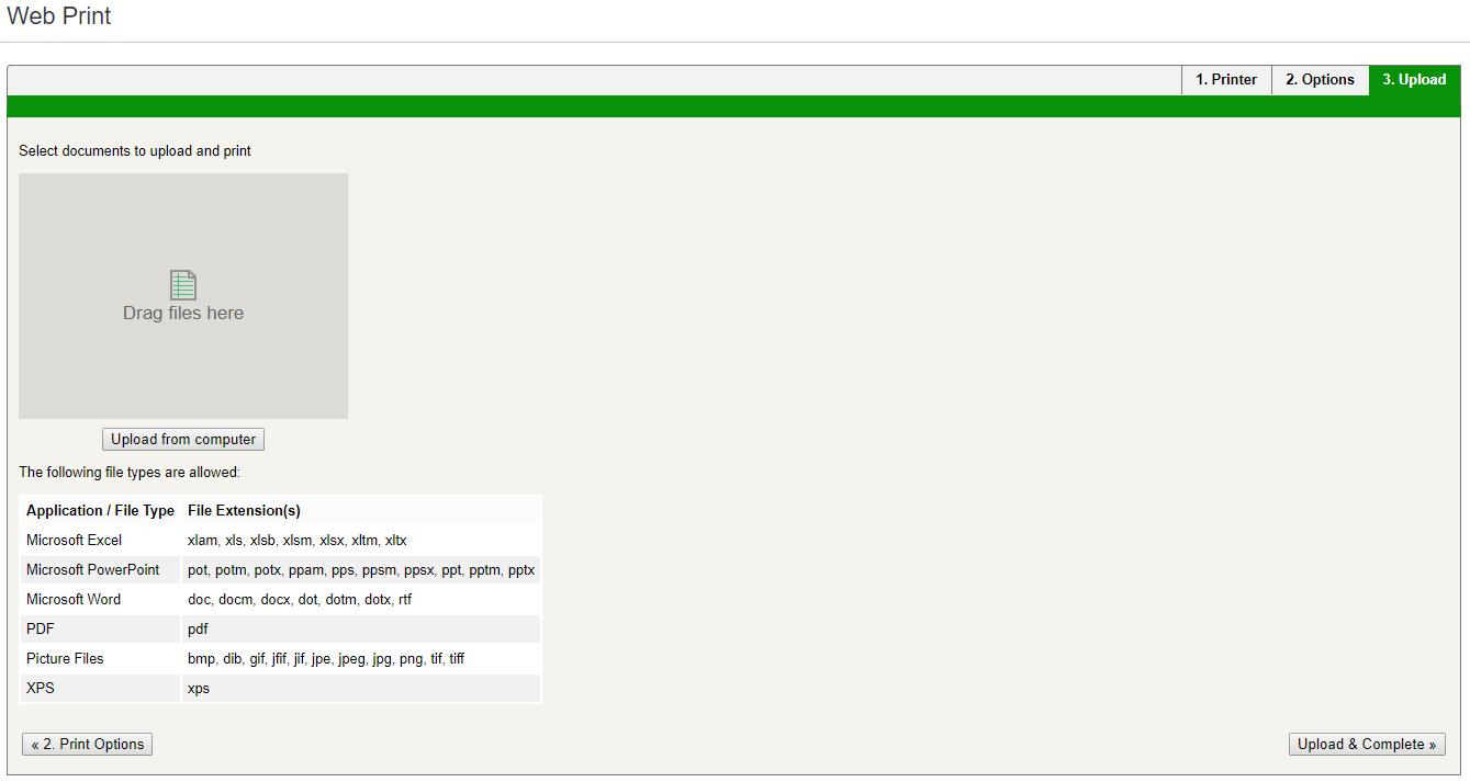 Web Print Select a document window