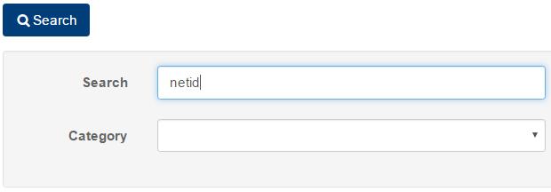 Image of KB search page with netid written in the search field, Categoy field is below it