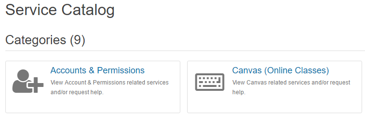 Image of Service Catalog and a couple Categories