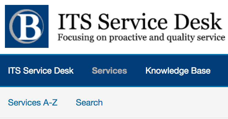 Screenshot of top left are of the ITS website with the link Services selected