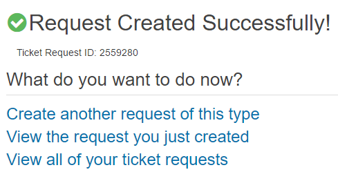 Image of request confirmation and three options