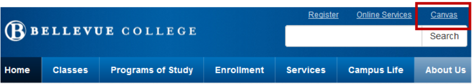 Image of Bellevue College Ribbon and Canvas Login